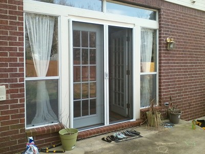Retractable patio screens for double french doors.